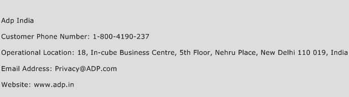 Adp India Phone Number Customer Service