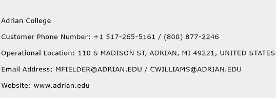 Adrian College Phone Number Customer Service
