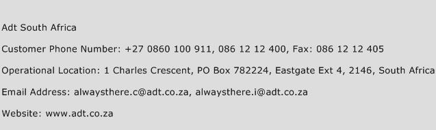 Adt South Africa Phone Number Customer Service