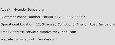 Advaith Hyundai Bangalore Phone Number Customer Service