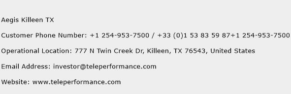 Aegis Killeen TX Phone Number Customer Service