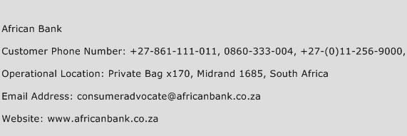 African Bank Phone Number Customer Service