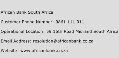 African Bank South Africa Phone Number Customer Service