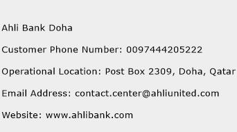 Ahli Bank Doha Phone Number Customer Service