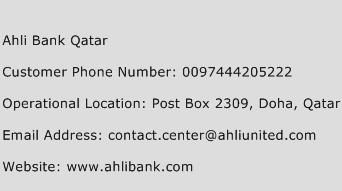 Ahli Bank Qatar Phone Number Customer Service