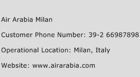Air Arabia Milan Phone Number Customer Service