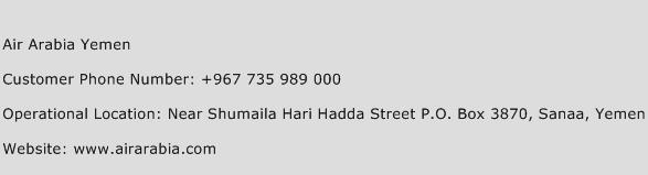Air Arabia Yemen Phone Number Customer Service