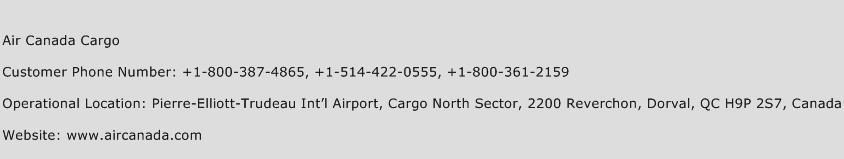 Air Canada Cargo Phone Number Customer Service