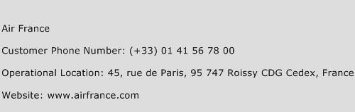 Air France Phone Number Customer Service