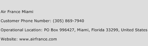 Air France Miami Phone Number Customer Service