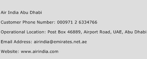 Air India Abu Dhabi Phone Number Customer Service