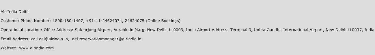 Air Canada Customer Care Number Delhi