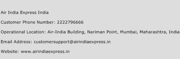 Air India Express India Phone Number Customer Service
