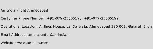 Air India Flight Ahmedabad Phone Number Customer Service