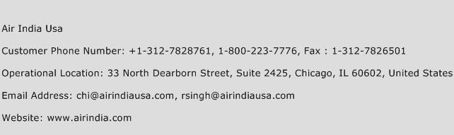 Air India Usa Phone Number Customer Service