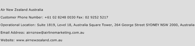 Air New Zealand Australia Phone Number Customer Service