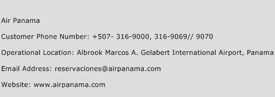 Air Panama Phone Number Customer Service