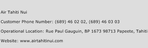 Air Tahiti Nui Phone Number Customer Service