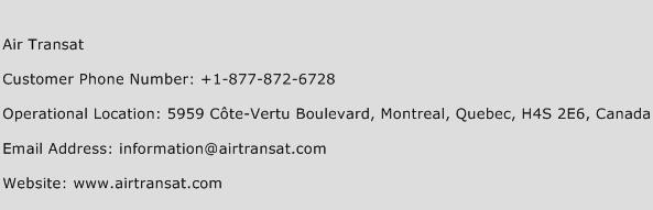 Air Transat Phone Number Customer Service