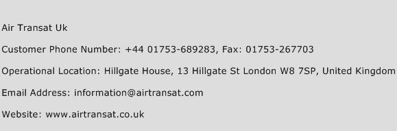 Air Transat Uk Phone Number Customer Service