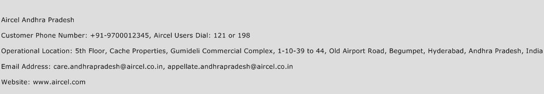 Aircel Andhra Pradesh Phone Number Customer Service