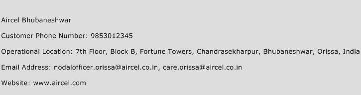 Aircel Bhubaneshwar Phone Number Customer Service
