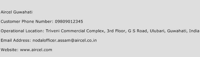 Aircel Guwahati Phone Number Customer Service