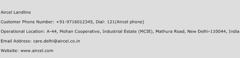 Aircel Landline Phone Number Customer Service