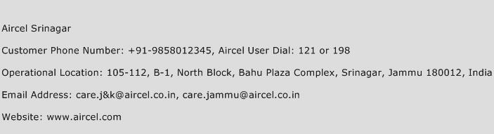 Aircel Srinagar Phone Number Customer Service