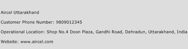 Aircel Uttarakhand Phone Number Customer Service