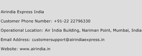 Airindia Express India Phone Number Customer Service