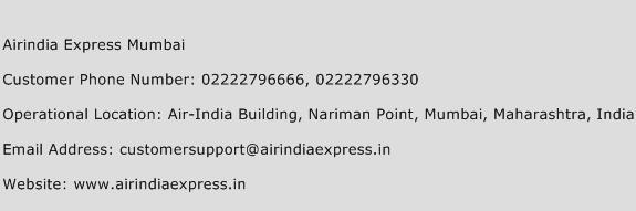 Airindia Express Mumbai Phone Number Customer Service