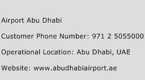 Airport Abu Dhabi Phone Number Customer Service