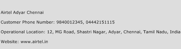 Airtel Adyar Chennai Phone Number Customer Service