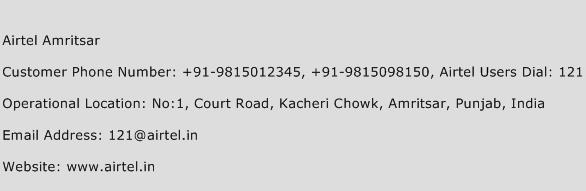 Airtel Amritsar Phone Number Customer Service