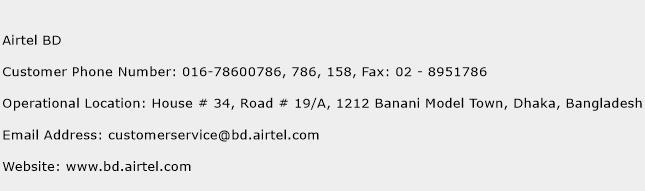 Airtel BD Phone Number Customer Service