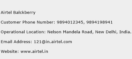 Airtel Balckberry Phone Number Customer Service