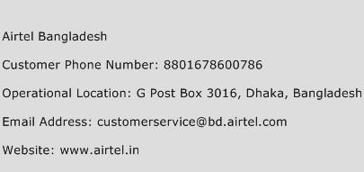 Airtel Bangladesh Phone Number Customer Service