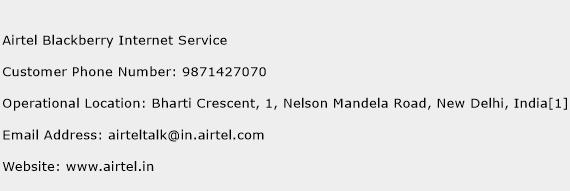 Airtel Blackberry Internet Service Phone Number Customer Service