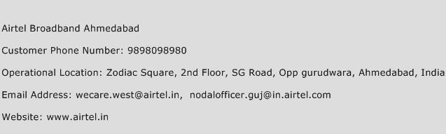 Airtel Broadband Ahmedabad Phone Number Customer Service