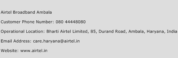 Airtel Broadband Ambala Phone Number Customer Service