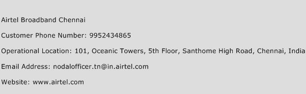 Airtel Broadband Chennai Phone Number Customer Service