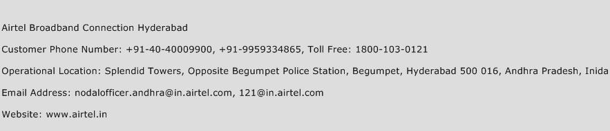 Airtel Broadband Connection Hyderabad Phone Number Customer Service