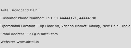 Airtel Broadband Delhi Phone Number Customer Service