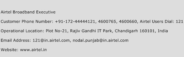 Airtel Broadband Executive Phone Number Customer Service