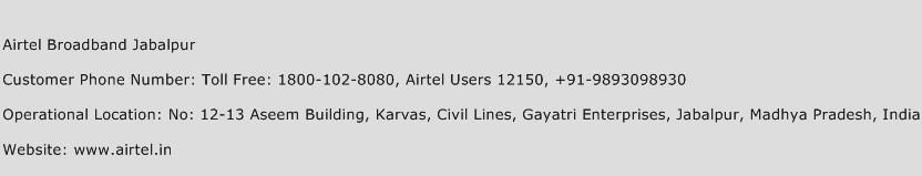 Airtel Broadband Jabalpur Phone Number Customer Service