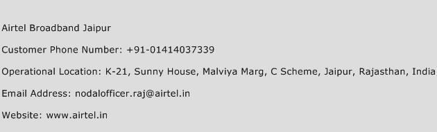 Airtel Broadband Jaipur Phone Number Customer Service