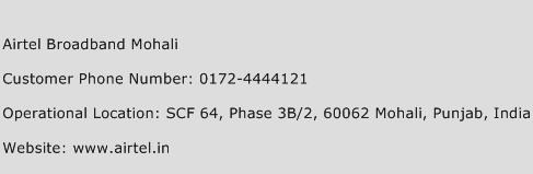 Airtel Broadband Mohali Phone Number Customer Service