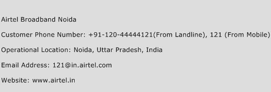 Airtel Broadband Noida Phone Number Customer Service