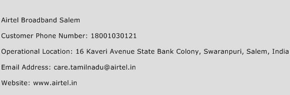 Airtel Broadband Salem Phone Number Customer Service